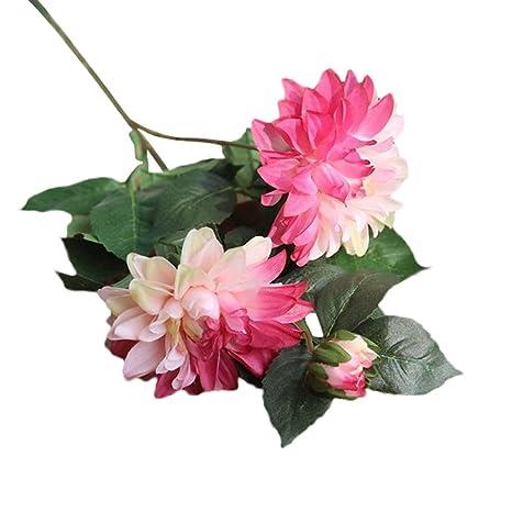 SamMoSon 2019 Flor Artificial para Decoracion Blanca Centro Arreglo Orquidea Hortensia Naranja,Seda Artificial Falsa