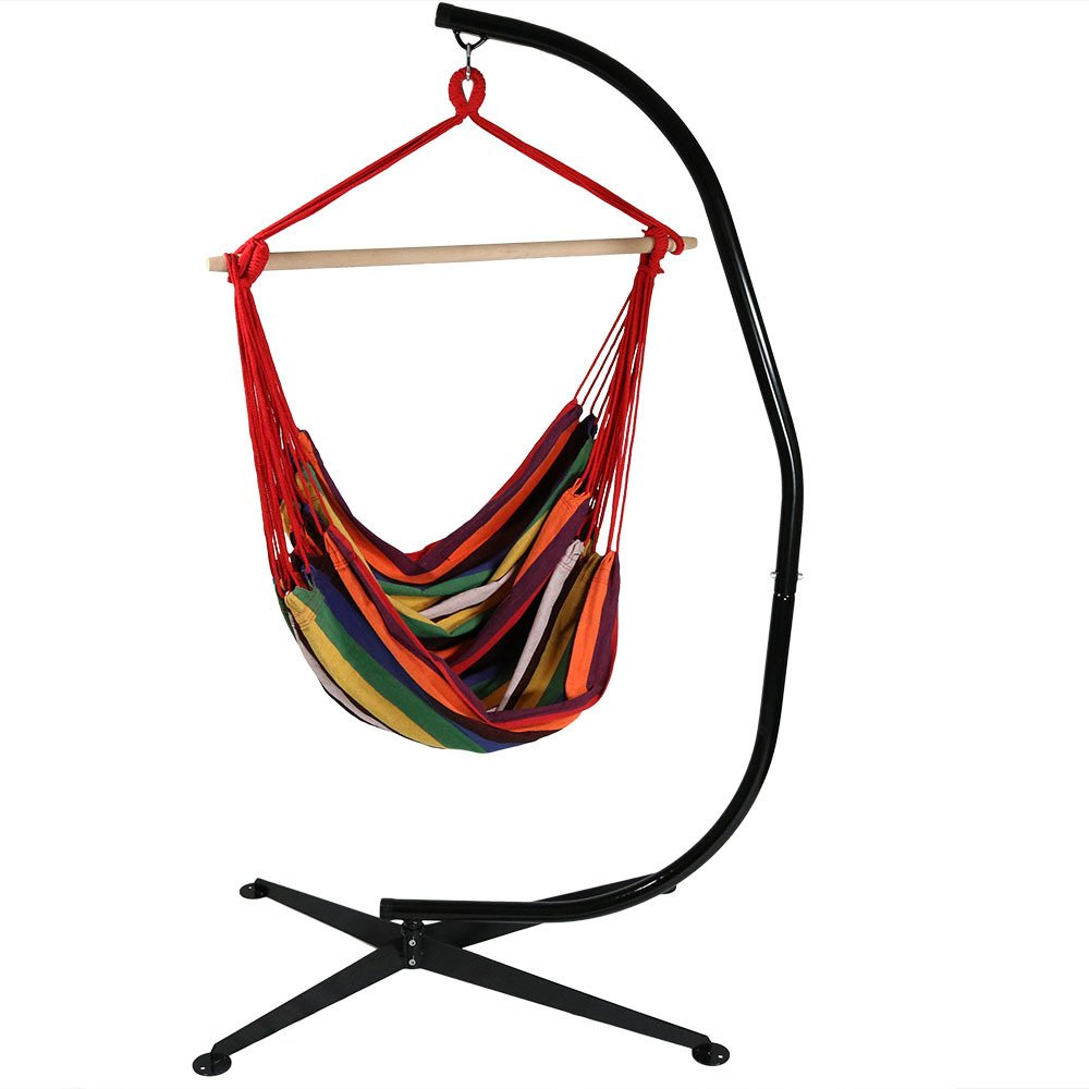 Sunnydaze Jumbo Extra Large Hanging Hammock Chair Swing with C-Stand, Indoor/Outdoor Use, 300-Pound Weight Capacity, Sunset