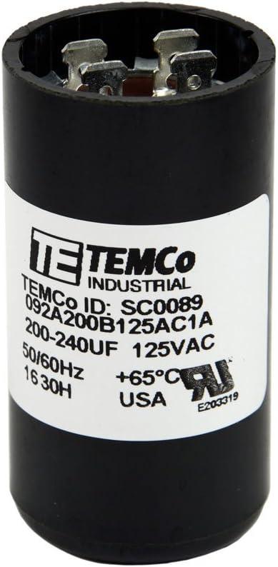 TEMCo Motor Start Capacitor SC0089-110-125 VAC Volts 200-240 uf Round 50/60 Hz AC Electric - Lot-1