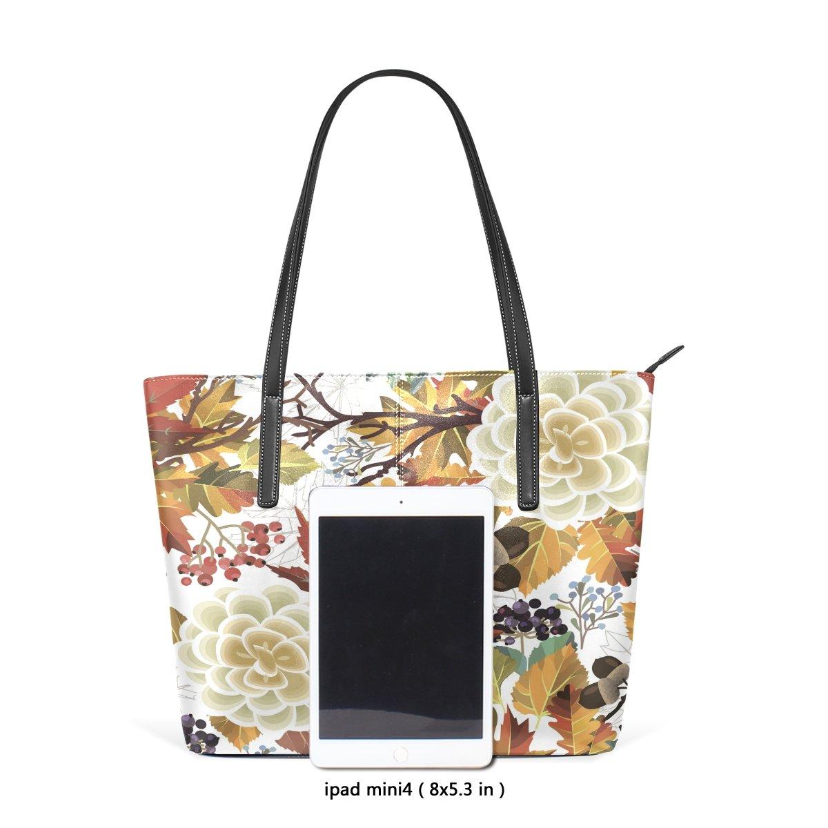 Womens Leather Top Handle Shoulder Handbag Pine Cone Large Work Tote Bag