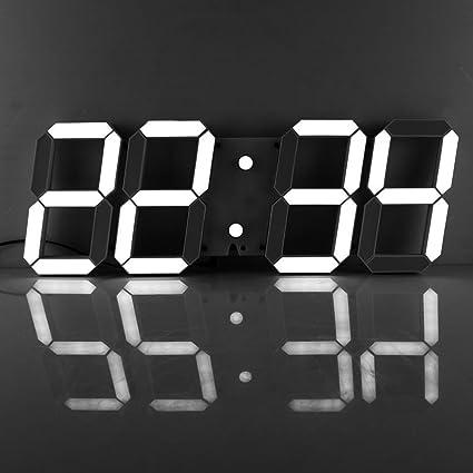 LambTown LED de Control Remoto 3D Digital del Reloj de Pared con Múltiples Alarmas de Temperatura