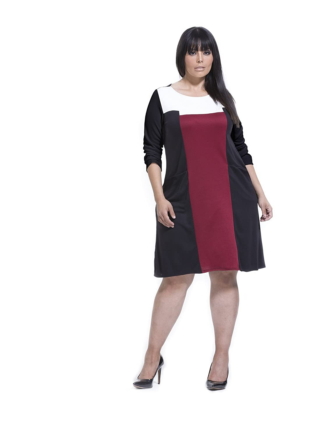 Plus Size Retro Dresses KARI LYN Womens Plus Size Carly Colorblock Dress $69.00 AT vintagedancer.com