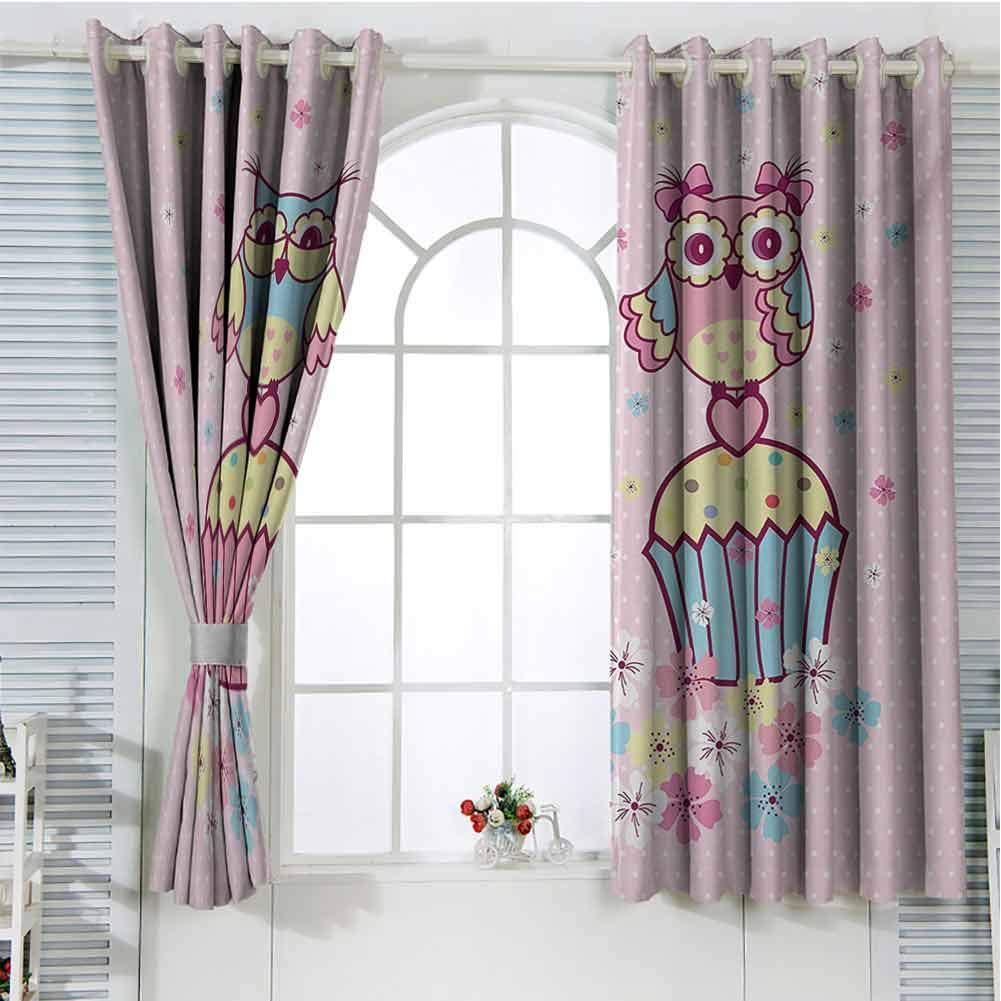 Gloria Johnson Owlswindow decorTwo Owl Couples on Cupcakes Springtime Happiness Romantic Children Artwall curtainPale Pink Sky Blue Yellow108 x 72 inch by Gloria Johnson
