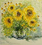 Sunflowers in Vase. Unique oil painting on canvas