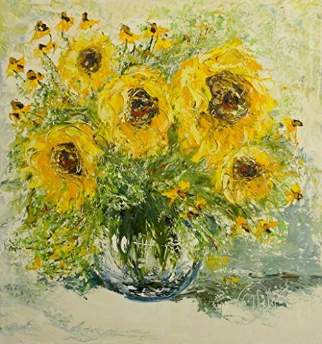 Amazon Sunflowers In Vase Unique Oil Painting On Canvas By