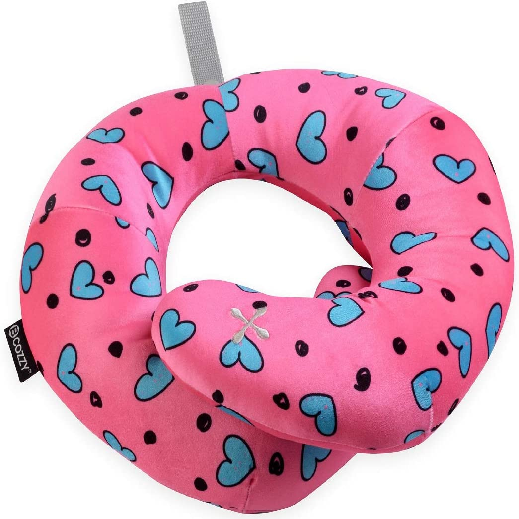 BCOZZY Kids Travel Neck Pillow [Upgraded]- Chin Support Keep Child's Head from Falling Forward in Car Rides- Soft- Ergonomic- Comfortable- Turquoise Hearts