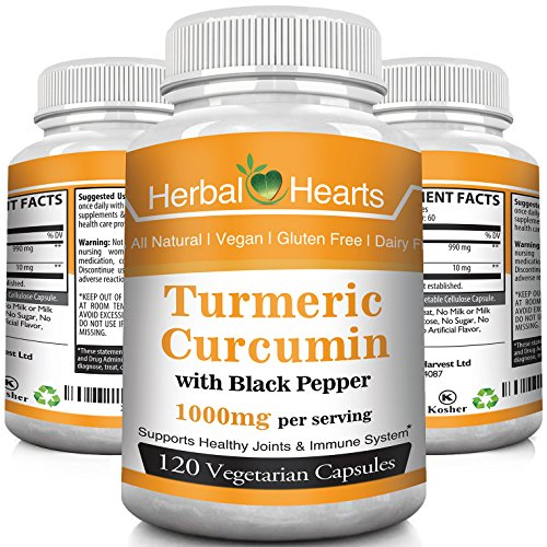 Organic Turmeric/Tumeric Curcumin Supplement with Black Pepper Extract 1000 MG l Best Vegan Joint Pain Relief, Anti-Inflammatory, Arthritis, Antioxidant & Anti-Aging Supplement. (120)