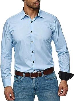 ღLILICATღ Camisas De Vestir De Poliéster para Hombre Slim Fit Color Sólido Camisas Casuales De Manga Larga Camisas con Botones, Camisas Elásticas Formales para Hombres: Amazon.es: Deportes y aire libre