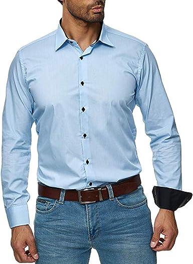 Heetey - Camisa para Hombre de Corte Ajustado, fácil de Planchar, para Trajes, Negocios, Bodas, Ocio, Manga Larga, Camisa para Hombre, Manga Larga: Amazon.es: Ropa y accesorios