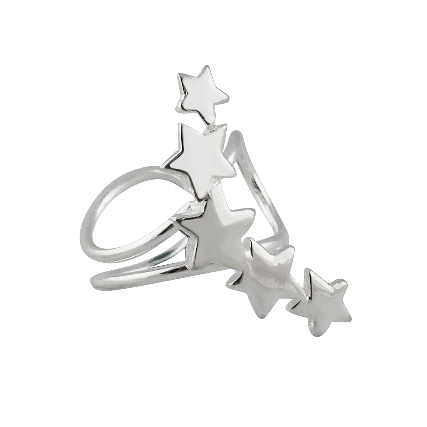 Sterling Silver Shooting Stars Ear Wrap Cuff Earring, Left or Right Ear, No piercing