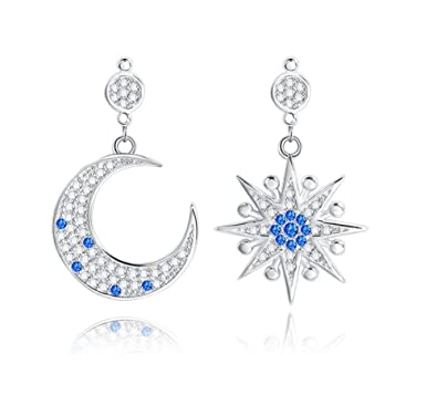 iBellete S925 Sterling Silver Ethereal Mismatched Asymmetric Crystal Open Moon And Star Dangle Drop Earrings for Women and Girls