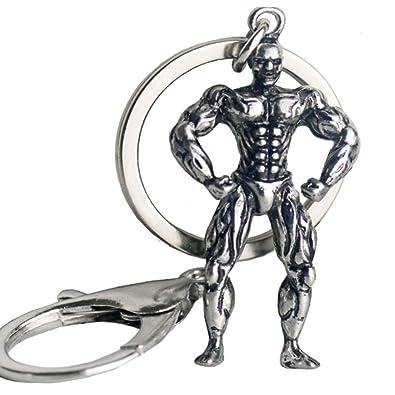 NiceButy llavero de metal aptitud asimiento de la mano con mancuernas colgante llavero Llavero de acero inoxidable Deporte Accesorios Ropa joyería