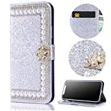 "Stysen Wallet Case for iPhone 6S 4.7"",Glitter Flip Case for iPhone 6 4.7"",3D DIY Handmade Shiny Bling Sparkle Diamond Rhinestone Pearl Pattern Silver Pu Leather Soft Inner Folio Magnetic Closure Bookstyle Card Slots Pouch with Strass Flower Buckle and Stand Function Luxury Fashinable Elegant Protective Wallet Case Cover for iPhone 6S 4.7""/6 4.7""-Flower,Silver"