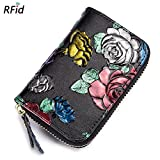 HLBag Rfid Blocking Floral Embossed Genuine Leather Wallet Small for Women Card Case Organizer (Gold + Silver + Red Rose)