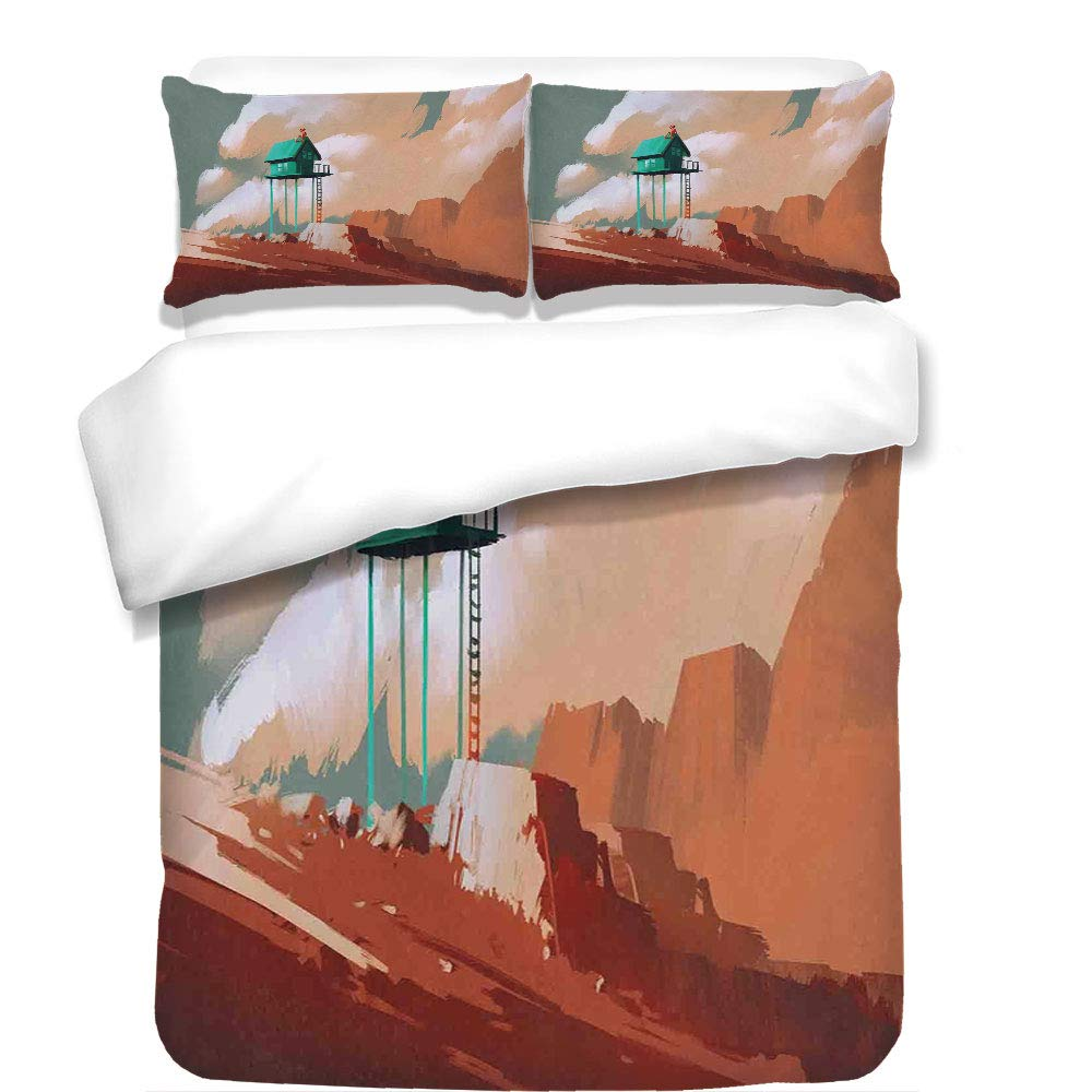 iPrint 3Pcs Duvet Cover Set,Fantasy Art House Decor,Little Wood House on Stone Hill with Boy on The Cloudy Roof Artprint,Tan Green,Best Bedding Gifts for Family/Friends