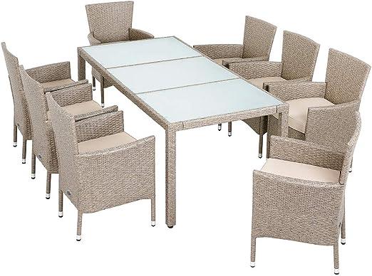 Deuba Conjunto de mesa y silla de poliratán 8+1 Gris Beige sillas ...