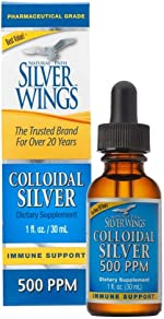 Natural Path Silver Wings Colloidal Silver 500PPM, 1 Fluid Ounce, Amber