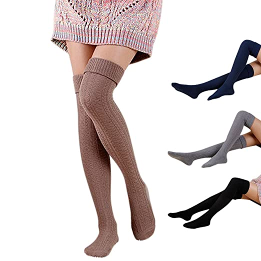 9b147f44fbf Roniky 4 Pack Womens Girls Over Knee High Socks Leg Warmer Leggings Knit  High Thigh Booties