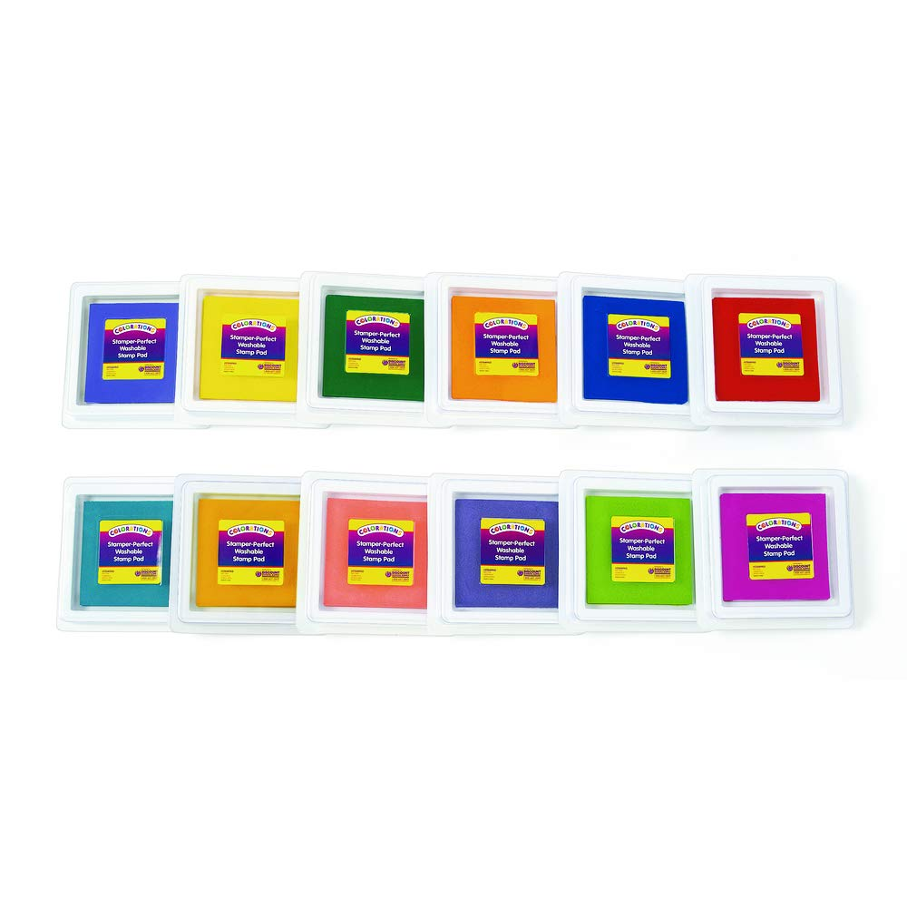 Colorations Stamper-Perfect Washable Stamp Pads - Set of 12 (Item # STAMPADS)