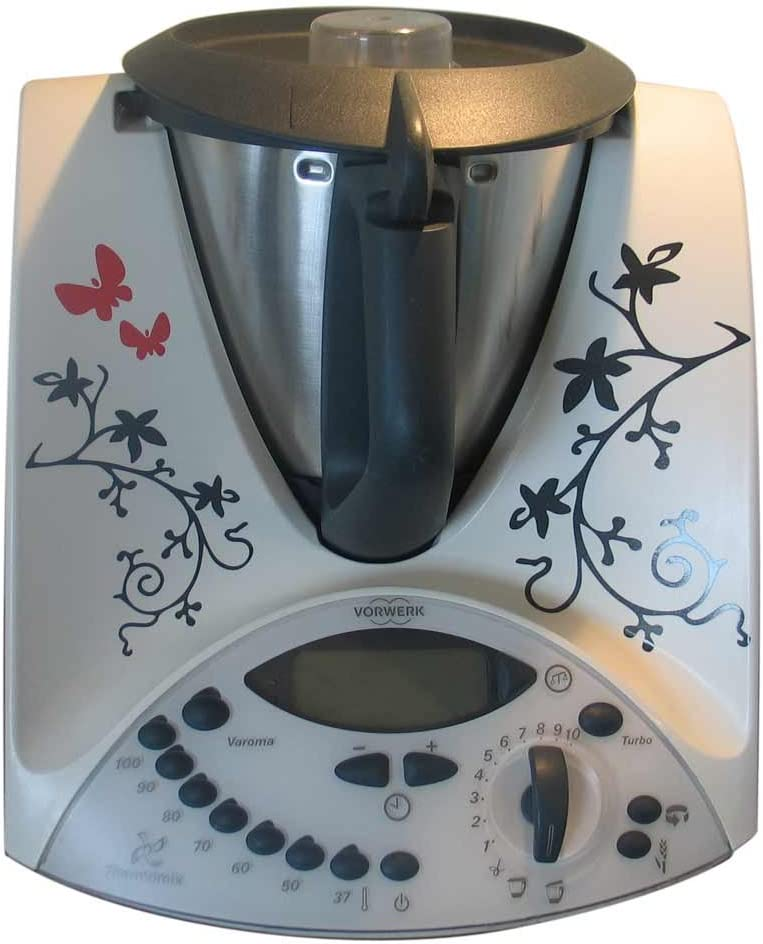 Grafix Ranke VS - Pegatinas de vinilo para Thermomix TM31, diseño de mariposas y flores, color negro y rojo: Amazon.es
