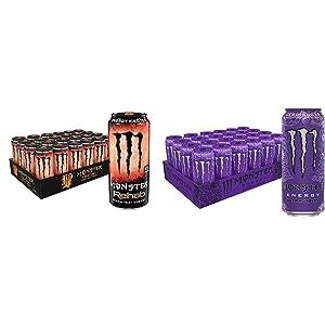 Monster Rehab Peach Tea + Energy, Energy Iced Tea, 15.5 Ounce (Pack of 24) & Monster Energy Ultra Violet, Sugar Free Energy Drink, 16 Ounce (Pack of 24)