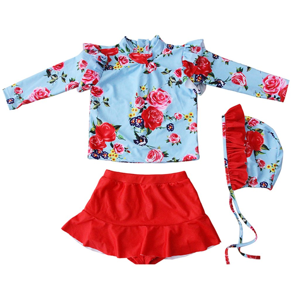 Sun Protective Baby Girls Swimsuit Long Sleeve Kids 3pcs Ruffle Floral Bathing Suit Rash Guards UPF 50+