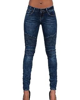 StyleDome Vaqueros Mujer Pantalon Pantalones Largos Botones ...