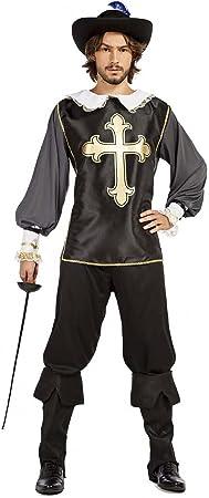disfraz mosquetero color negro talla m/l tamaño adulto