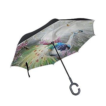 Paraguas invertido de Doble Capa Pavo Real invertido en el árbol ...