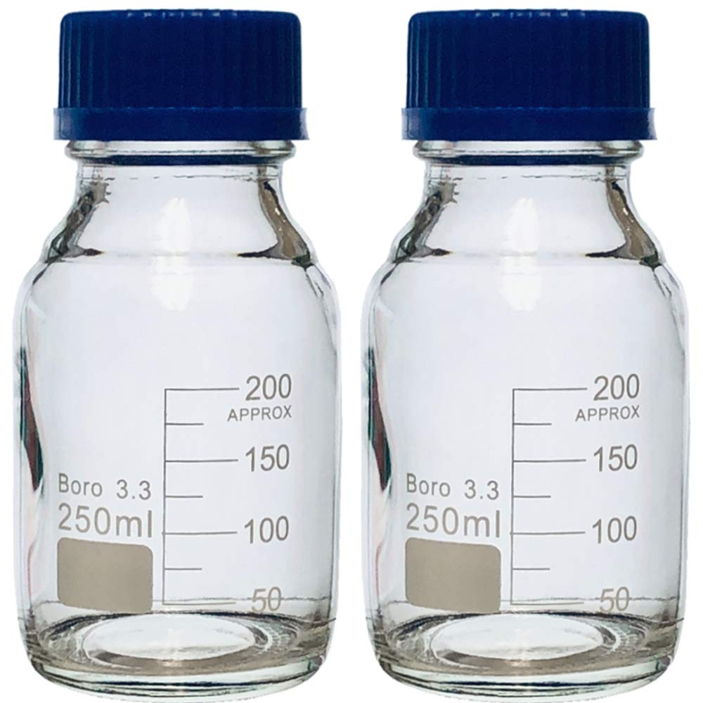 250ml Glass Round Media Storage Bottles with GL45 Screw Cap, 3.3 Borosilicate Glass, Karter Scientific 232H3 (Pack of 2) by Karter Scientific