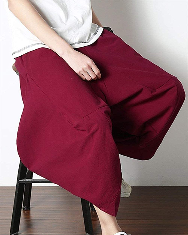 Harem Pants Bloomers Mens Hippie De La Pantalones Casuales Suelta Entrepierna De Mode De Marca Color S/ólido De Cintura El/ástica Pantalones De Lino Aladdin Pants