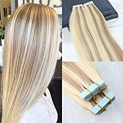 """HairDancing 20"""" Tape in Real Hair Extentions Full Head Remy Hair Extensions Balayage Piano Ombre Hair Extensions Color #14 Fading to #613 Bleach Blonde Glue in Human Hair 50g 20 Pcs/Package"""