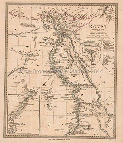 Egypt Nubia Antique Map SDUK 1831 Original Egyptian Decor History Ancestry Gift Ideas