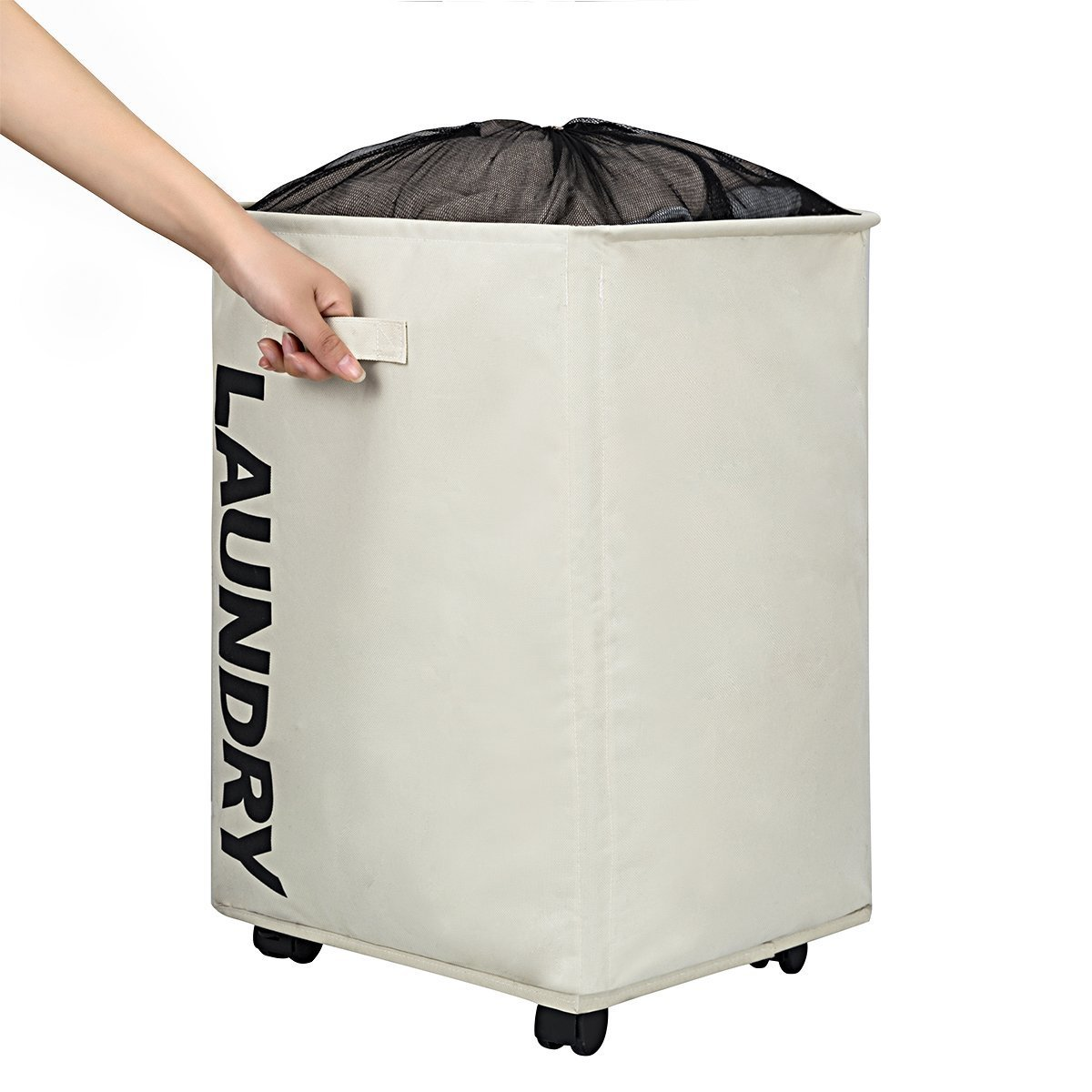 WISHPOOL Large Rolling Stand Folding Slide Laundry Basket Square Collapsible Waterproof Dirty Laundry Hamper Bin Organizer Storage with Mesh Wheels (Beige)