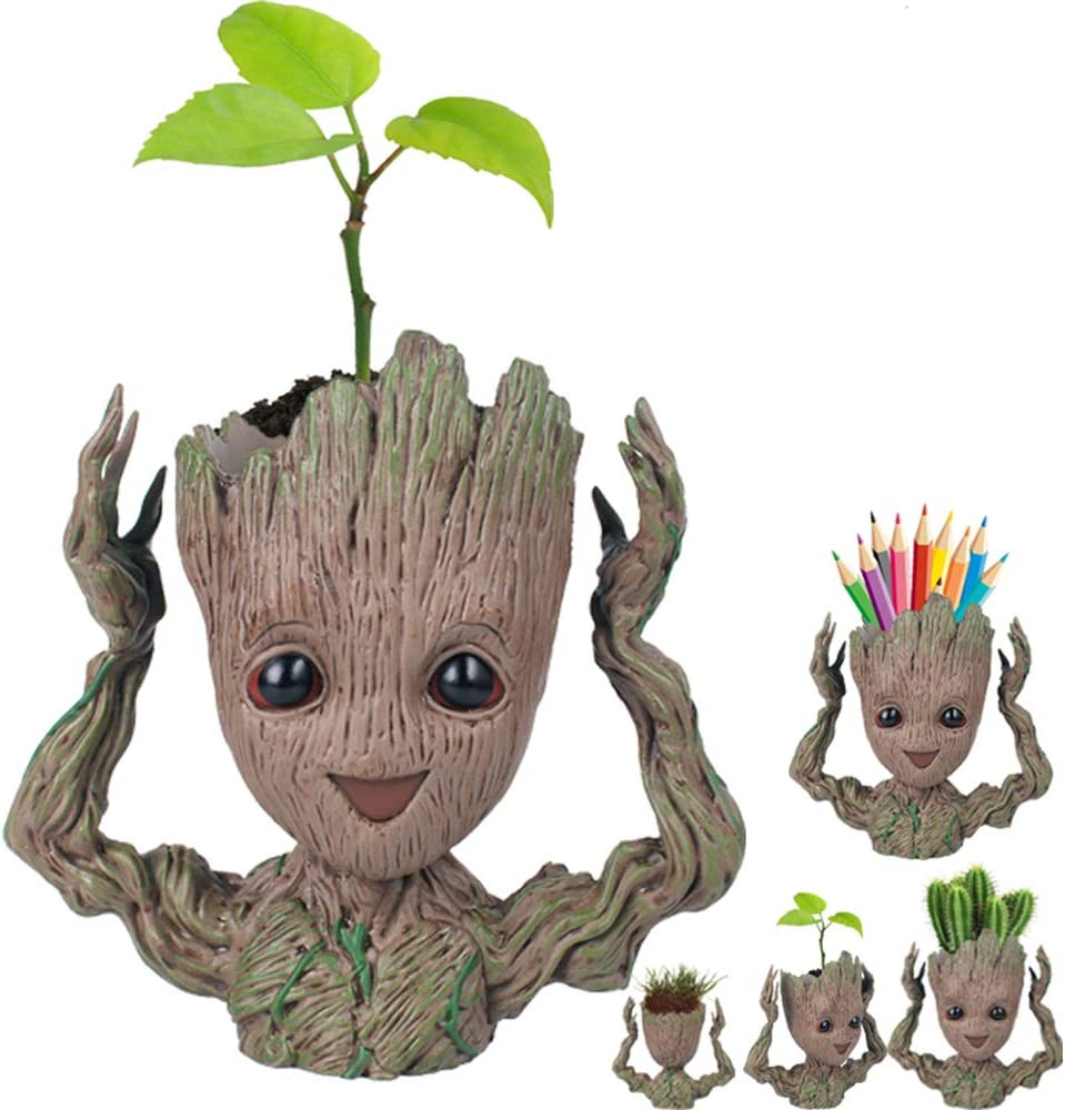 Rime Sale Day Deals Week Clearance-Creative Groot Planter Pot Guardians of The Galaxy Flowerpot Baby Groot Action Figures Cute Model Toy Pen Pot Pencil Holder Best Gifts for Kids Hands Up Groot