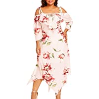 Night Club Dress for Women Sexy,Fashion Women Off Shoulder Plus Size Lace Up Maxi Flowing Floral Print Dress