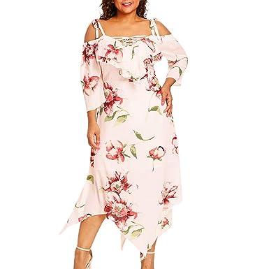 9d0c0e7069fd2 Women Plus Size Boho Dress, Summer Ladies Off Shoulder Short Sleeve Lace-up Floral  Print Irregular Chiffon Maxi Dresses at Amazon Women's Clothing store: