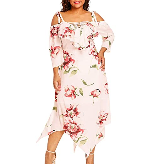 acb224ce0db31 NREALY Dress Womens Fashion Off Shoulder Plus Size Lace Up Maxi Flowing  Floral Print Dress(
