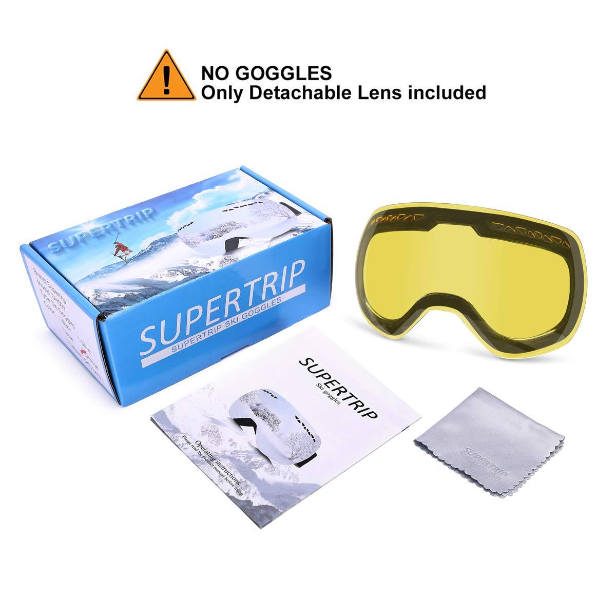 1ac6fc1eaa1 Amazon.com   Supertrip Outdoor Ski Goggles OTG Skiing Men   Women Mirror Snow  Goggles (Yellow(Only Lens