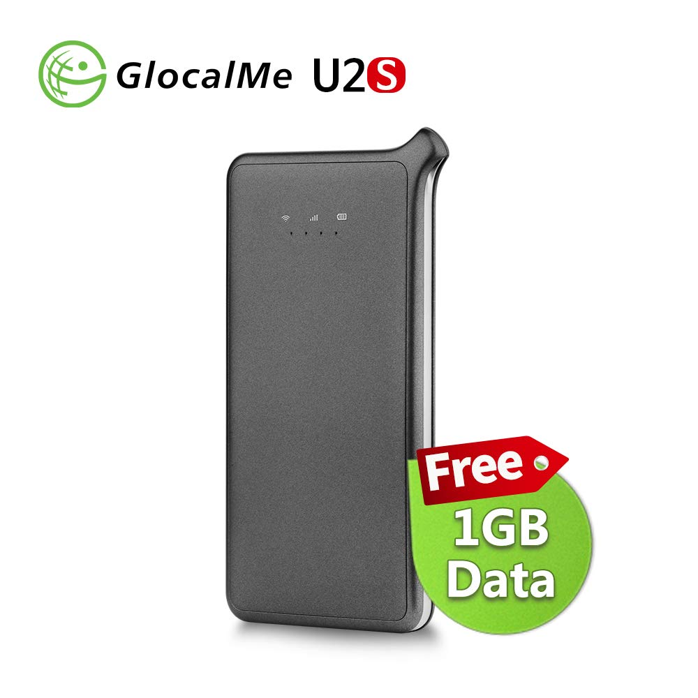 GlocalMe U2S 4G LTE High Speed Network Mobile Hotspot, Worldwide WiFi Portable Hotspot with 1GB Global Initial Data, No SIM Card Roaming Charges Travel Pocket WiFi Hotspot MIFI Device (Gray) by GlocalMe