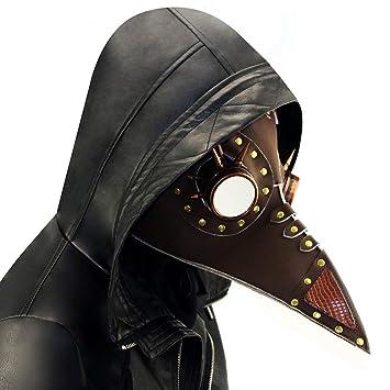 XBECO Halloween Máscara Steampunk Peste Pico Máscara Halloween Prom Máscara Pico Nariz Larga Máscara Faux Cuero