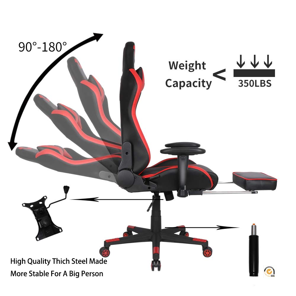 Cyrola Large Size Real PU Leather High Back Comfortable Gaming Chair with Footrest PC Racing Chair with Lumbar Support Headrest Ergonomic Design Red Black