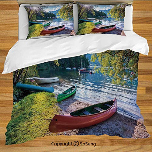 - Landscape King Size Bedding Duvet Cover Set,Bohinj Lake with Boats Canoes Triglav National Park Julian Alps Slovenia Print Decorative 3 Piece Bedding Set with 2 Pillow Shams,Multicolor