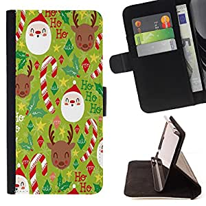 Super Marley Shop - Funda de piel cubierta de la carpeta Foilo con cierre magn¨¦tico FOR Apple iPhone 4 4S 4G- Merry Christmas Tree Green Red Deer Snow Winer