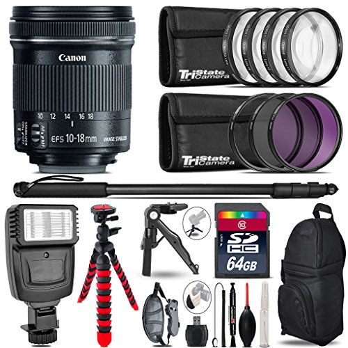 Canon 10-18mm IS STM Lens + Flash + UV-CPL-FLD Filters + Macro Filter Kit + 72'' Photo/Video Monopod + Table-Top-Tripod + 64GB Class 10 Memory Card+ Backpack + Flexible Tripod - International Version by TriStateCamera