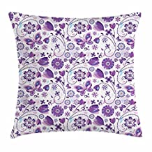 Violet Throw Pillow Cushion Cover, Spring Season Floral Pattern Blossoms and Butterflies Cheerful Fantasy, Decorative Square Accent Pillow Case, 18 X 18 Inches, Violet Pale Blue White