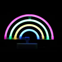 LED Neon Sign Light Rainbow with Pink,Green,Yellow,Blue Color Wall Decorative Neon Signs for Bedroom Girls' Kids Home Decoration Night Light Battery Powered and USB Plug(NERBO)
