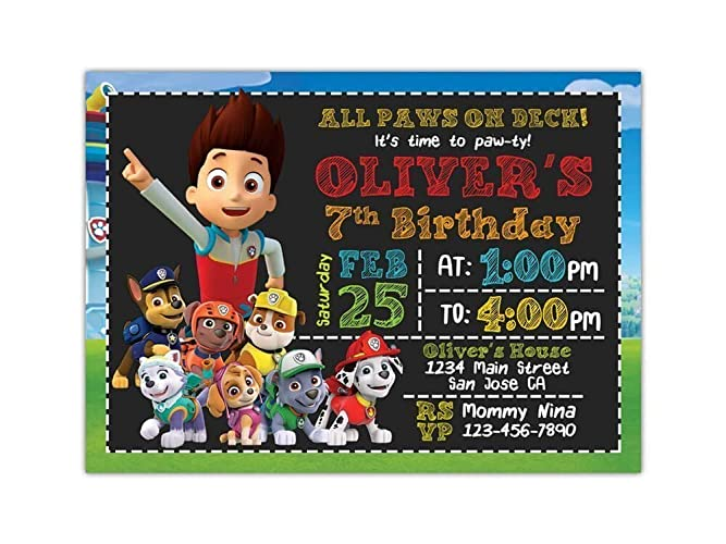 Custom Paw Patrol Birthday Party Invitations For Kids 10pc 60pc 4x6 Or 5x7 Cards With White Envelopes Printed On Premium 265gsm Card Stock In