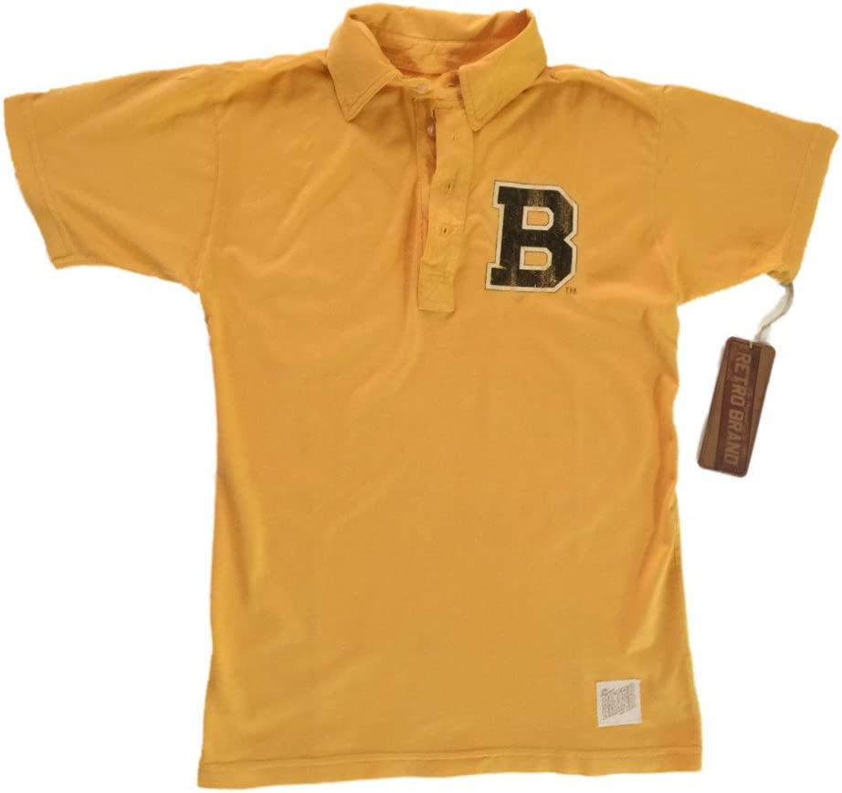 Boston Bruins retro marca dorado 100% algodón manga corta Golf ...