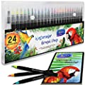 Watercolor Real Brush Pens by Sophie's Art Supplies [24 or 48 Pack]. Vibrant Water Soluble Ink. Flexible Brush Tips for Watercolor Effects, Coloring and Calligraphy. Free Blending Brush + Pad!